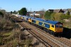"""15 February 2016 :: 66708 now in GBRf Europorte colours and named """"Jayne"""" leads a convoy of 7 newly imported locomotives as 0X66 from Newport Docks to Doncaster at Portskewett.  The convoy consists of  66708 + 66777 + 66776 + 66779 + 66778 + 66774 + 66773 & 66775"""