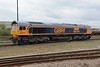 """1 May 2015 :: 66704 """"Colchester Power Signal Box"""" now with the Europorte re-paint is parked up adjacent to Eastleigh Station"""