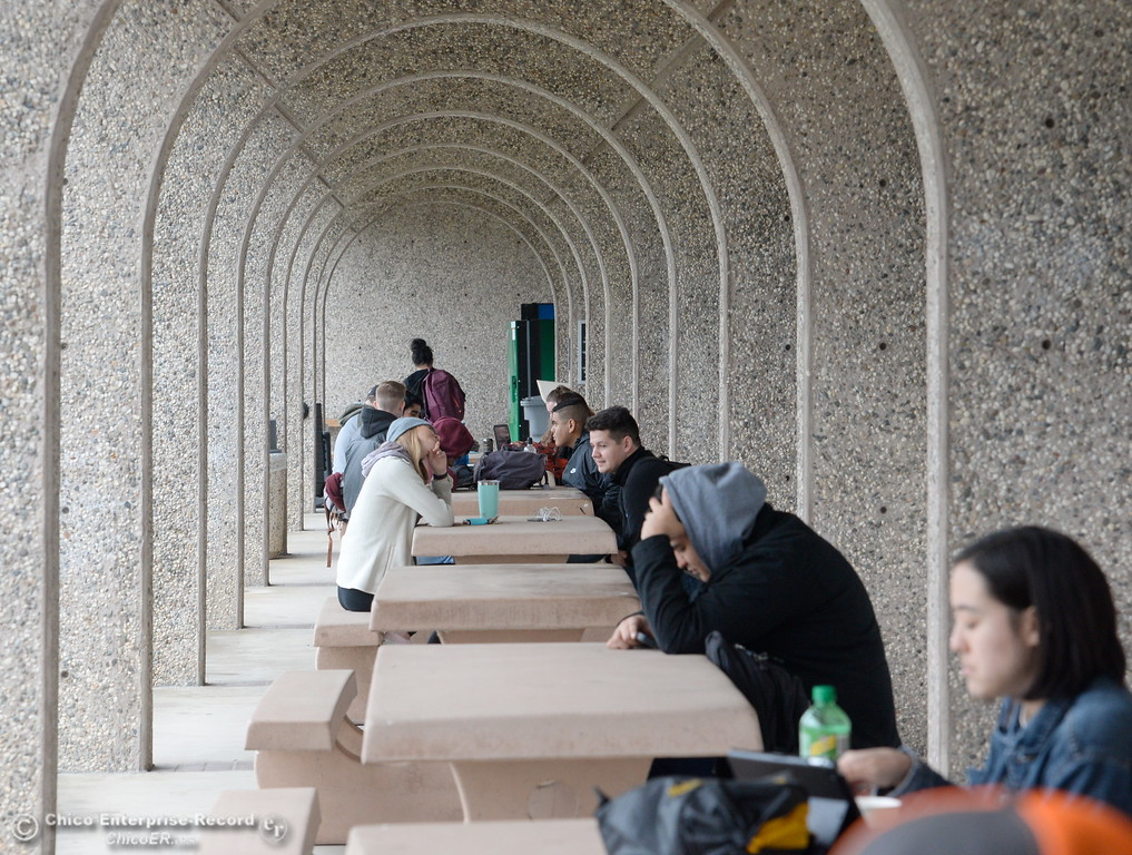 . Students begin to focus on the spring semester as they sit under cover by the Library at the Butte College Main campus Monday Jan. 22, 2018. (Bill Husa -- Enterprise-Record)