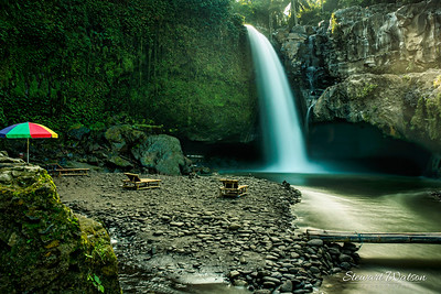 Beautiful  waterfall in the middle of the rain forest in IBali, ndonesia