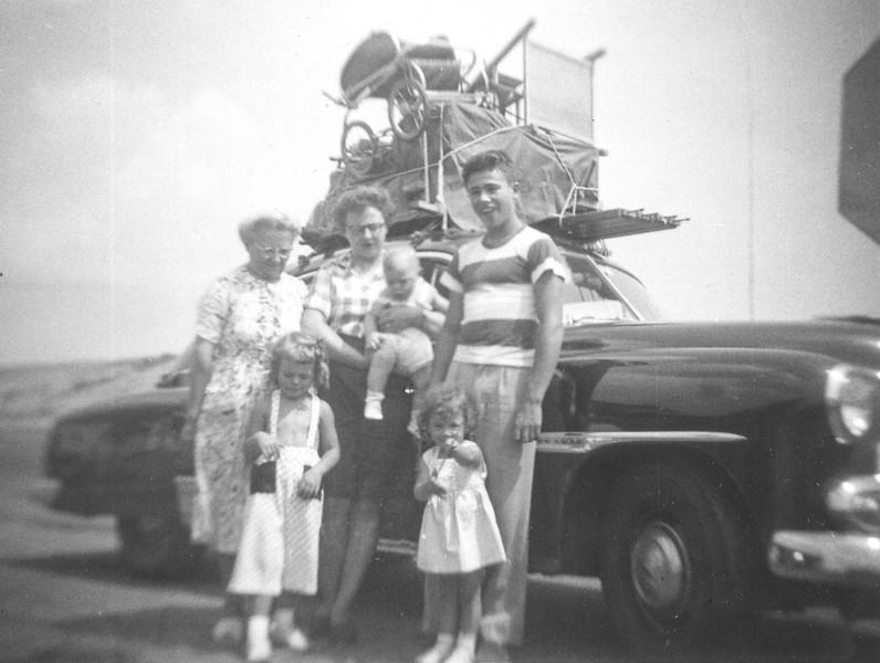 Sept. 1952: Hampton Beach Bound, Albina, Bontempi Lena Begin, Russell Bontempi, Judy, Shelley and baby Greg Begin