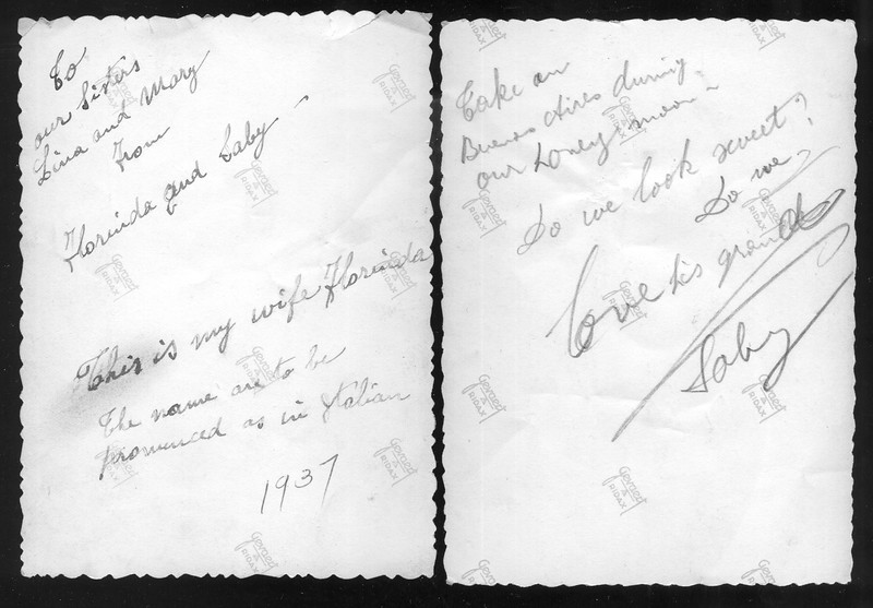 The messages written the back of the photos by Mr. Sabatini