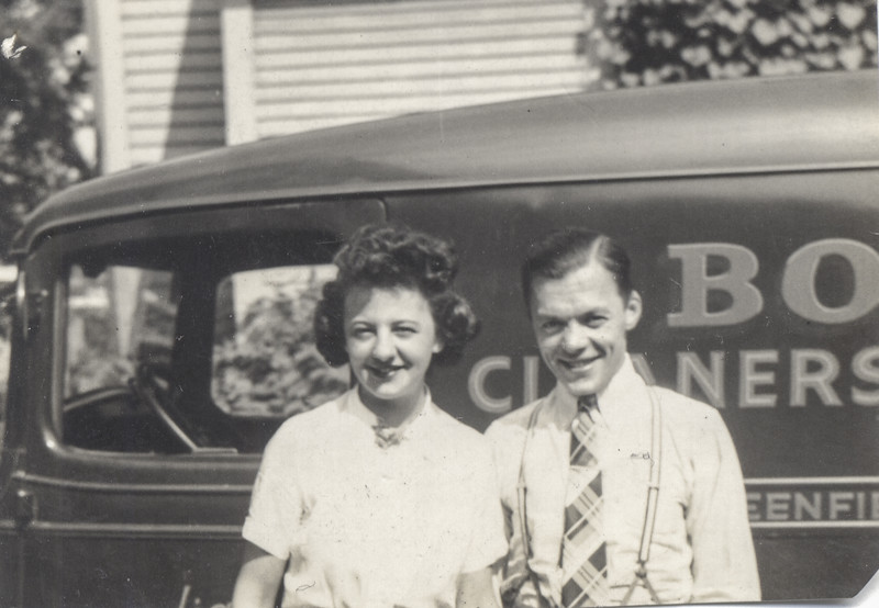 1936, Lena Bontempi & Bernie Begin in front of the Bond Cleaners Truck - Northampton MA