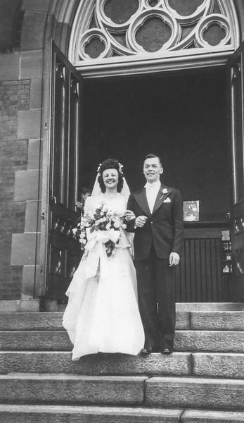 June 3, 1946: Lena and Bernie Begin Wedding, St. Mary's Church, Northampton MA