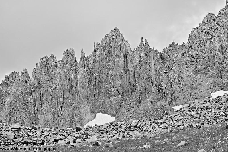 Eroded Spires - Mount Sneffels (14,158 feet (4,315m)) Southwest Ridge - Mount Sneffels Wilderness Area, Ouray, CO