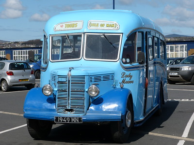 LADY MEAVE the Tours (Isle of Man) classic Bedford OB with Duple coach work seen parked at the Sea Terminal, Douglas during April 2012