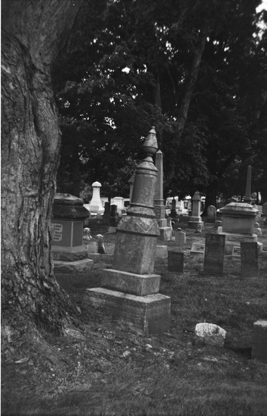 WIth time old headstones can get displaced by growing trees that might have been just saplings when they were first placed on the ground, the trees might have not even been around back then.