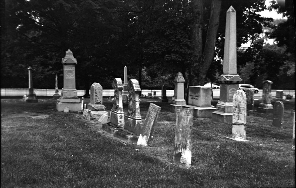 I took the camera to the old portion of David's Cemetery here in Kettering.  I didn't close the camera correctly so a few of these images have some slight light leaks as as a result.