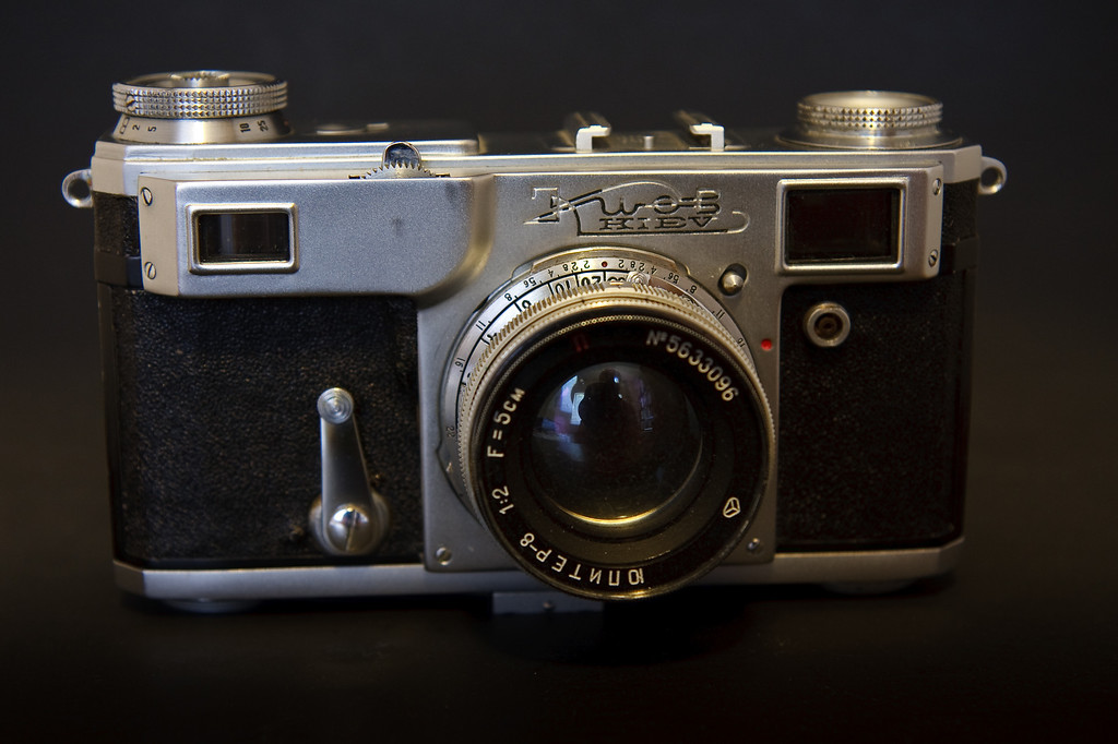 The Kiev IIa is a Soviet copy of the pre-war German Contax II.  My copy was produced in 1957, one of the last production years for this version.  The later Kiev rangefinders, while physically very similar, tend to be of much lower quality that is typical of the Former Soviet Union cameras.  My copy however works perfectly.  Pictured here with the standard Jupiter-8 50mm lens.