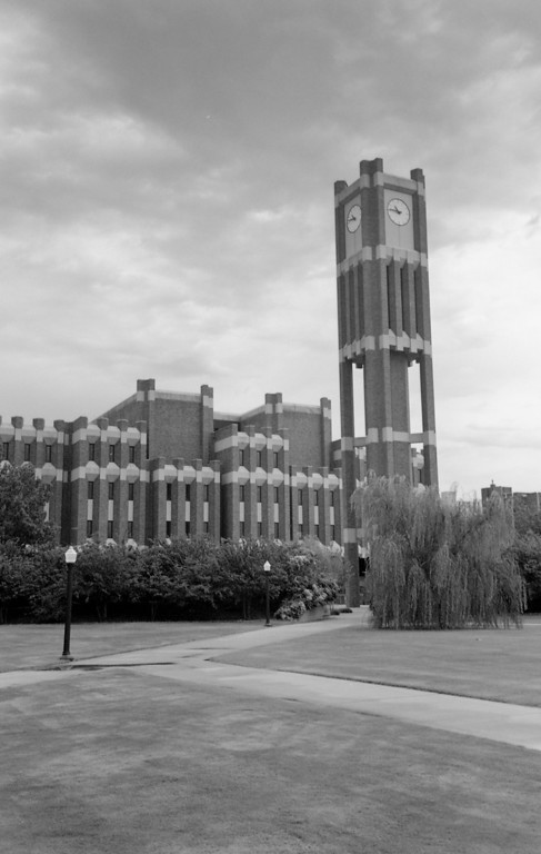 Modern addition to Bizzel Library and the clock tower