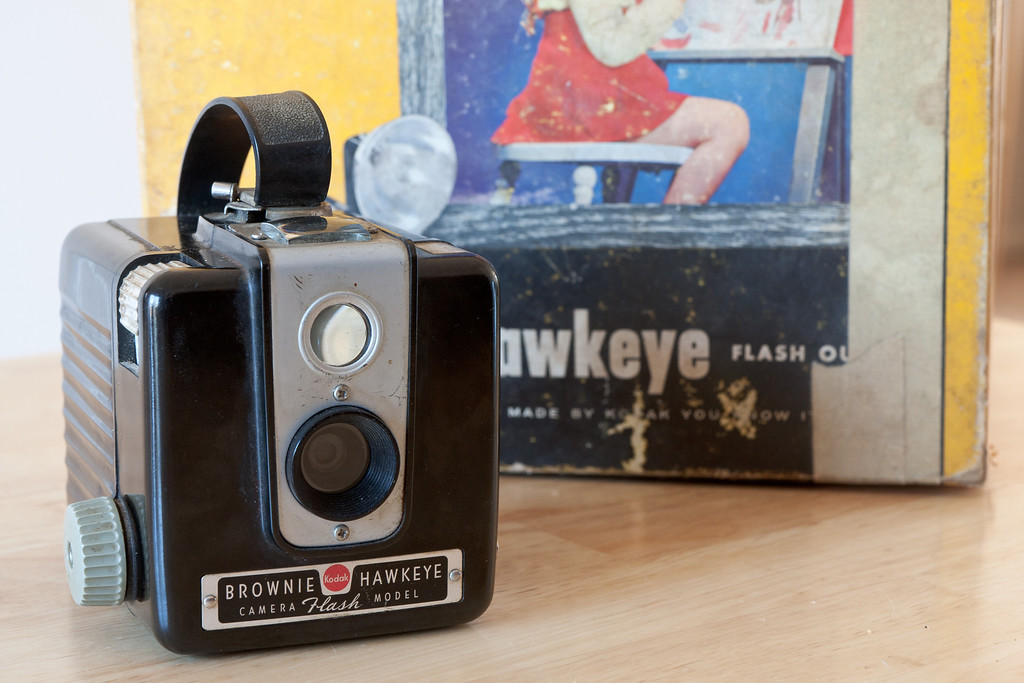 The Kodak Brownie Hawkeye camera is another fairly simple box cameras from Kodak.  Thousands must have been made as I see them all the time at flea markets and garage sales.  It has a single shutter speed that I guess is around 1/45, as well as a bulb setting for long exposures.  The single aperture looks to be around f/16.  The flash version of this camera enjoyed a long run being produced from around 1950-1961 according to McKeown.  It produces 6x6cm images on 620 film.