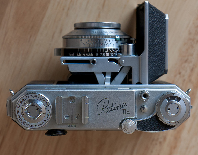 This is a Retina IIa, produced from around 1951-1954, it was sold with an original price of $169, which is over $1450 in 2011 dollars!  In other words, this was not a cheap camera for the masses.  Thanks to a badly spelled ebay listing, I got this practically mint condition camera for less than $30.  I now have several Retinas, but the IIa is my favorite.