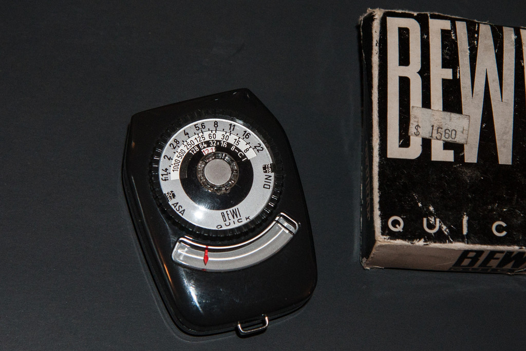 Bewi Quick (1960's)<br /> <br /> Bertram meters often have their own distinctive look, such as the Chrostar mentioned above.  The Bewi Quick is more traditional in shape, but still looks good.  It's a simple selenium meter but mine is still fairly accurate considering it's age.  It's fairly small, not as small as the Gossen Pilot but it would still slide easily into a pocket.