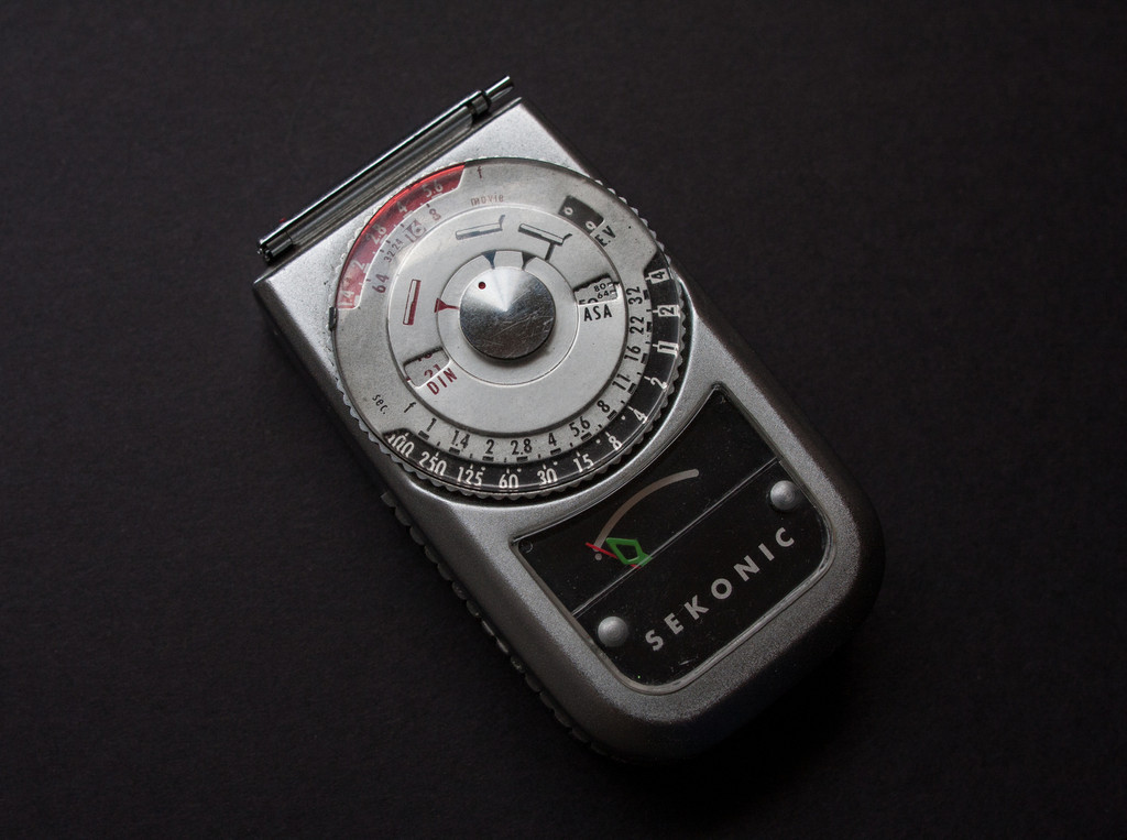 Sekonic Auto Leader 3 L-162 (1971)<br /> <br /> Another selenium meter of mine which was accurate when I bought it but is now off by several stops.  It's one of my smaller meters, not as small as my Pilot 2 but still easily fits into a pocket.  You can't see it in the picture, but on the bottom there is a large booster cell that pops out when you need it.  The booster helps a bit in low light conditions, but being a selenium meter it still works best when there is a bit more light.