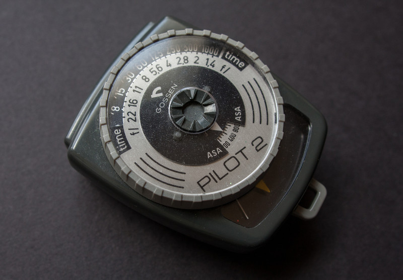 Gossen Pilot 2 (1970's)<br /> <br /> This is the smallest light meter I own, my flash drive is longer than this meter.  It's a simple, no frills selenium meter that doesn't require batteries.  It can be used to take both reflected and incident light readings, but I've found that the flat incident panel isn't as accurate as a spherical dome.  <br /> <br /> I don't use it very often, but if I want to go out with a minimal kit, this is the meter I grab.