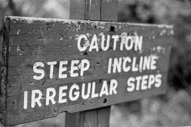 Caution.  The steps are irregular, I actually find it easier to stay off the steps and just walk up beside them.