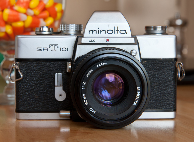 The Minolta SrT101 remained in production for about a decade, being manufactured from the around 1966-1975 .  I suppose Minolta found that there was little improvement needed in the 101 series cameras.  As far as I can tell my example is considered one of the '2nd generation' 101s from the early 70s.  This is yet another solid, dependable, and all manual camera from the time when Japanese SLRs were really hammering the European camera industry.