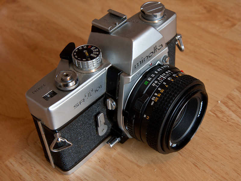 I picked this up at a recent camera show for just a few bucks.  The light meter doesn't work but I really don't need one.  I find I'm getting better at guessing the exposure in different lighting conditions.  The lens isn't original, it's a more recent Minolta lens from the 1980's.  I was planning on buying one of the original lenses that came with the camera but I discovered that they sell for surprisingly high prices for standard lenses.