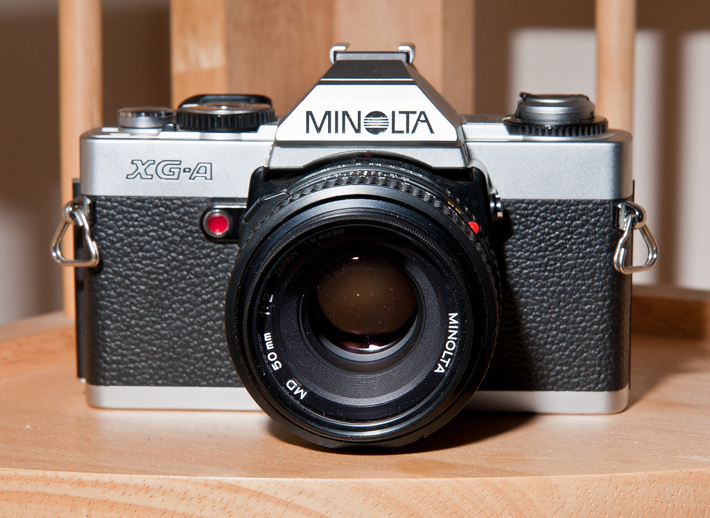 The Minolta XG-A is a relatively recent manual focus camera, produced in the early 1980's.  The XG-A is a somewhat simple camera, being aperture- priority only, with no full manual exposure capability.  This basic camera was oriented towards beginners and those on a budget.  It does at least have a provision for exposure compensation, up to +/- 2 stops.