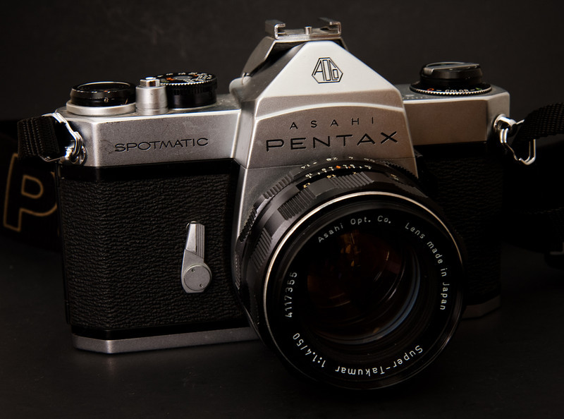 The Pentax Spotmatic is another one of those cameras that everyone can agree is a true classic.  The original model was introduced in 1964 which was followed by many later models up into the 70's.  This particular version is the MD model, which introduced a provision for a motor drive.  The Spotmatic was the first Pentax camera to introduce TTL metering, although it is a stop-down meter rather than full aperture metering that would come in later models.  It's a large, solid camera that can take a beating and keep going.