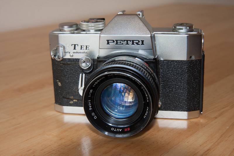 I picked this camera along with a matching 135mm lens at a used bookstore of all places for $15.  The Petri FT EE was produced by the Kuribayashi company from 1969-1973.  The company is best known for their early folders and later rangefinders, most notably the excellent Petri 7s.  Their SLRs are not as well known, most likely due to the small number of lenses that were produced with their proprietary lens mount.  I was unable to find much specific information about this model beyond it's mention in McKeown's.  The camera features both full manual and aperture priority control.
