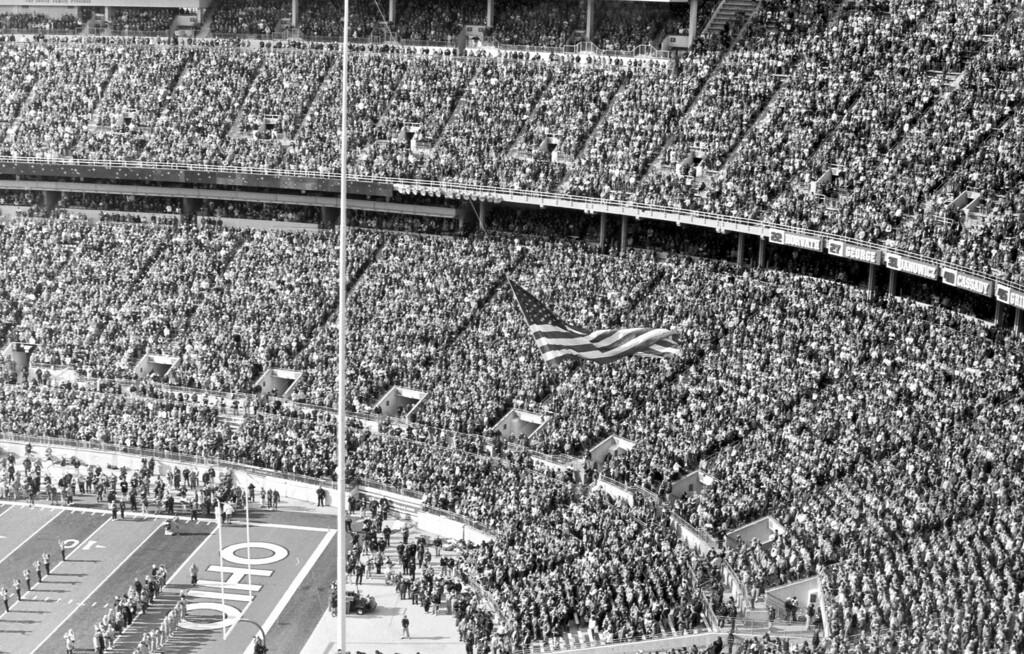 Raising the flag.