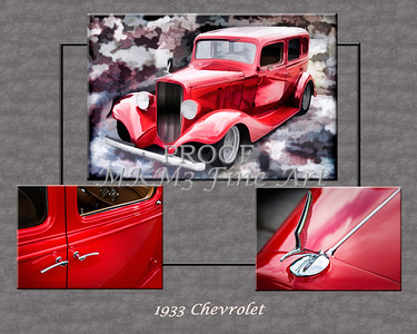 1933 Chevrolet Chevy Sedan Classic Car Collage in Sepia 3516.01