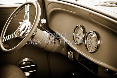 1933 Chevrolet Chevy Sedan Classic Car Intenior in Sepia 3171.01