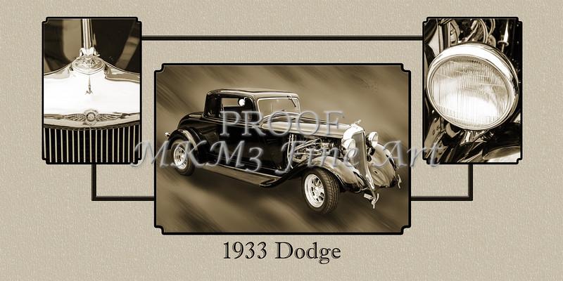 1933 Dodge Vintage Classic Car Automobile Photographs Fine Art Print Collectable Collage 4147.01
