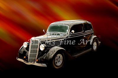 1935 Ford Sedan Vintage Antique Classic Cars Fine Art Prints Paintings in Both Color and Black and White Sepia