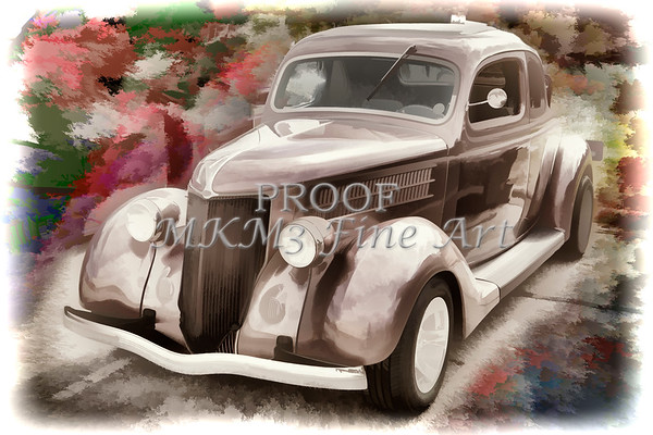 1936 Ford Classic Car Painting or Automobile in Color  3122.02