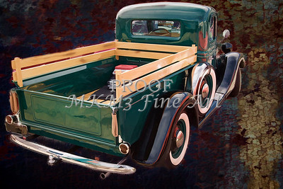 Painting 1937 Ford Pickup Truck Spare Tire Classic Car in Color 3315.02