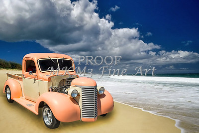 1939 Chevrolet Pickup Antique Car on Beach in Color 3517.02