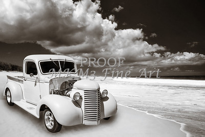 1939 Chevrolet Pickup Antique Car on Beach in Sepia 3517.01