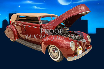 1939 Ford 4 Door Deluxe Convertible Photograph Print by M K Miller in both color and Sepia Black and white