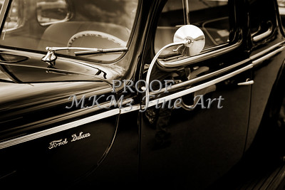 1940 Ford Classic car  side door and mirror Photograph in sepia 3190.01
