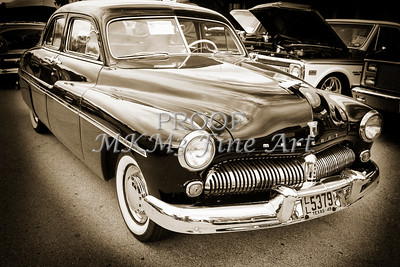 1949 Mercury Classic Car Front and Side in Sepia 3190.01