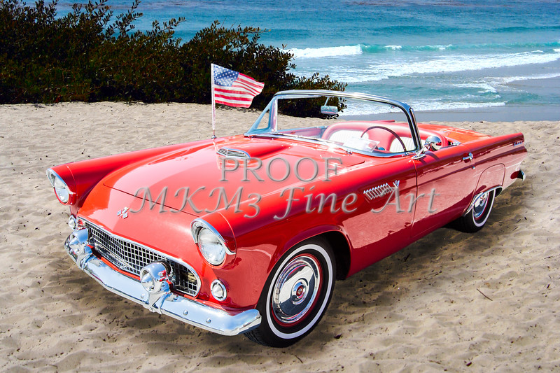 1955 Ford Thunderbird Vintage Car Poster Canvas Print Art Home Decor Wall Art