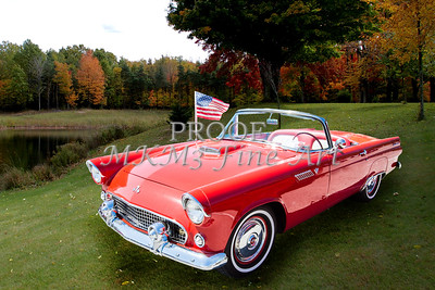 1955 Thunderbird Vintage Antique Classic Car Fine Art Print Photographs in Both Red Color and Black and White Sepia