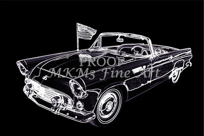 1955 Thunderbird Drawing Fine Art Prints 1274.01