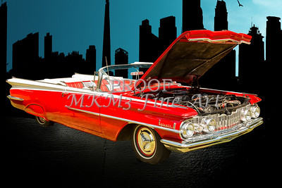 1959 Oldsmobile Convertible Original Photographic Prints by M K Miller in color and black and white sepia
