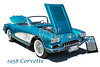 1958 Corvette by Chevrolet on White in a Color Photograph 3496.02