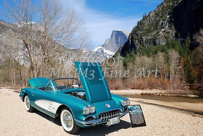 1958 Corvette by Chevrolet Near River in a Color Photograph 3495.02