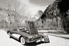 1958 Corvette by Chevrolet Near River in a Sepia Photograph 3495.01