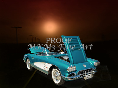1958 Corvette by Chevrolet and a Train photograph Print 3483.02