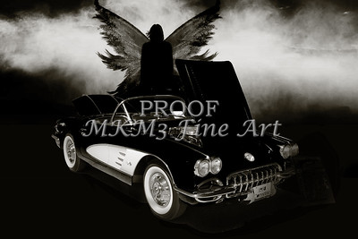 1958 Corvette by Chevrolet and Dark Angel photograph Sepia Print 3482.01