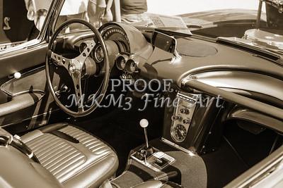 1958 Corvette by Chevrolet Interior in a Sepia Photograph 3489.01