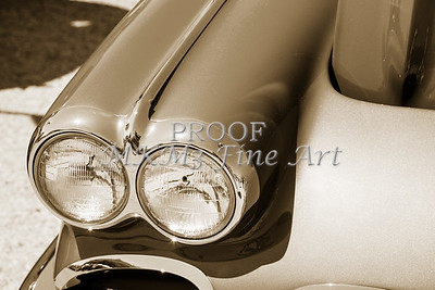 1958 Corvette by Chevrolet Headlights and a sepia Photograph 3486.01