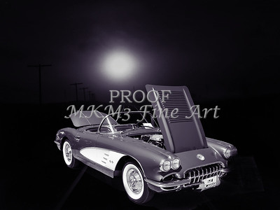 1958 Corvette by Chevrolet and a Train Sepia Photograph 3483.01