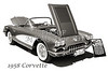 1958 Corvette by Chevrolet on White in a Sepia Photograph 3496.01